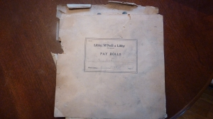 Small Piece Work Pay Roll Ledger, Week Ending Aug 23, 1924 – Picture taken by Bob Graham, 2013